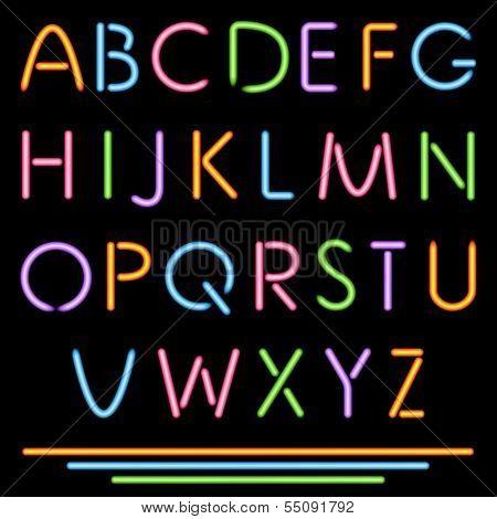Realistic Neon Tube Letters. Alphabet, ABC, Font. Multicolor. Ve