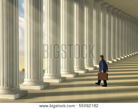 Businessman walking through a column lined walkaway . Digital illustration.