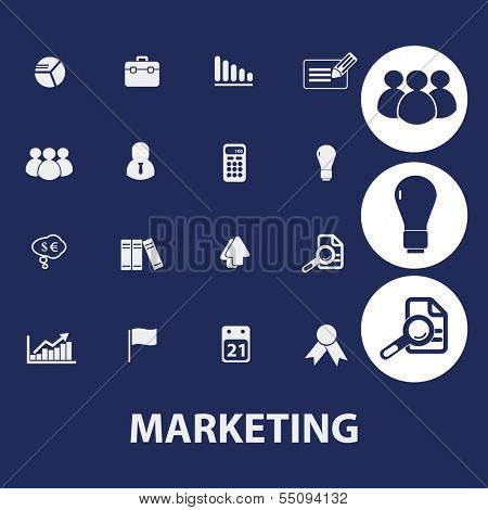 marketing, management icons