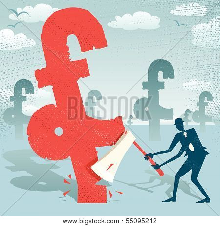 Abstract Businessman Cuts Down The Pound.eps