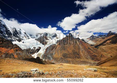 Alpine landscape in Cordiliera Huayhuash, Peru, South America