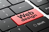 Web design concept: Web Design on computer keyboard background
