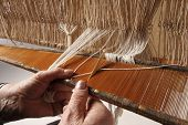 pic of handloom  - Various stages of processing of industrial fabrics or craft - JPG