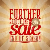 stock photo of year end sale  - Further reductions sale design in retro style - JPG