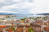 stock photo of water jet  - Panoramic view of city of Geneva the Leman Lake and the Water Jet in Switzerland Europe aerial view - JPG