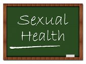 stock photo of erectile dysfunction  - Sexual Health text written on a green board with chalk - JPG