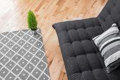 picture of futon  - Detail of a bright modern living room with simple decor - JPG