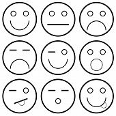 stock photo of eye-wink  - Vector icons of smiley faces on a white background - JPG