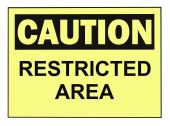 foto of osha  - OSHA caution restricted area warning sign isolated on white - JPG