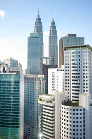 picture of petronas twin towers  - Architecture of Kuala Lumpur with famous Petronas Twin Towers - JPG