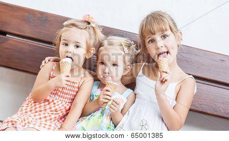 Funny Children Girls Eating Ice Cream