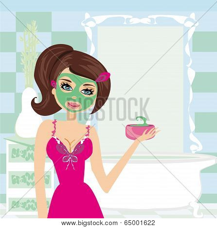 A Young Beautiful Woman With Mask On Her Face