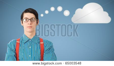 Nerd Geek Businessman Thinking Cloud Or Computing