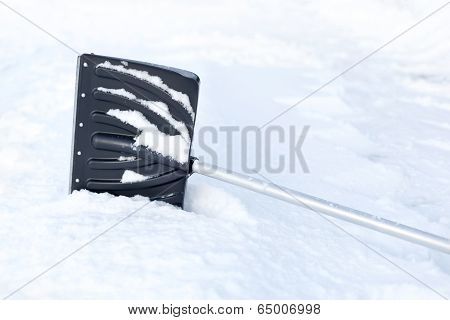 Shovel In Snow, Ready To Removal Snow