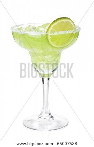 Classic margarita cocktail with lime slice and salty rim. Isolated on white background