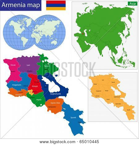 Map of administrative divisions of Armenia