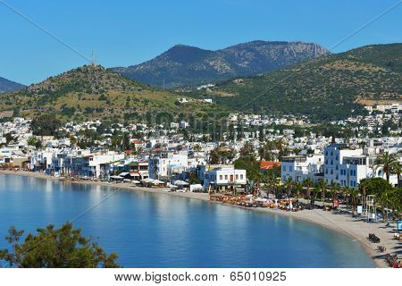 BODRUM, TURKEY - APRIL 13, 2014: Aerial view to the city. Bodrum is famous for housing the Mausoleum of Halikarnassus, one of the Seven Wonders of the World