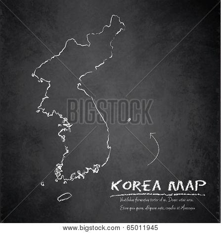 Korea map blackboard chalkboard vector