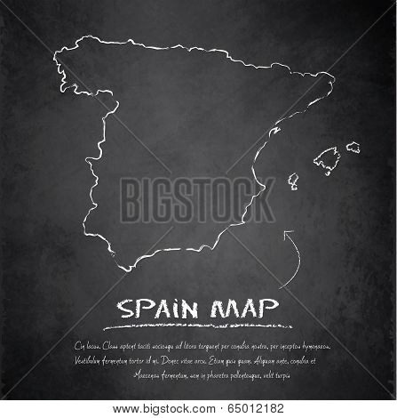 Spain map blackboard chalkboard vector