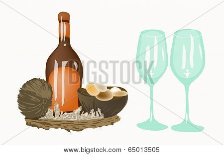 Bottle And Two Wine Glasses