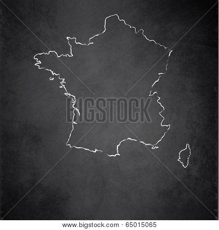 France map blackboard chalkboard raster