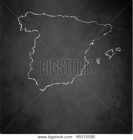 Spain map blackboard chalkboard raster