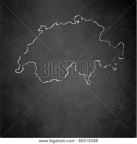 Switzerland map blackboard chalkboard raster