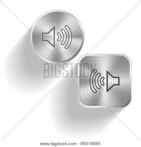 Loudspeaker. Vector set steel buttons