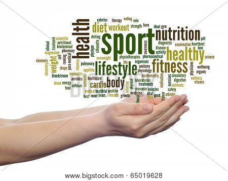 Concept or conceptual abstract sport and health word cloud in human man hand isolated on white background