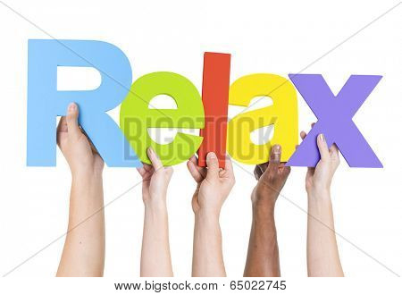 Multiethnic Arms Raised Holding Text Relax