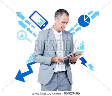 Business Man Working Holding Digital Tablet with Decrease and Increase Concept