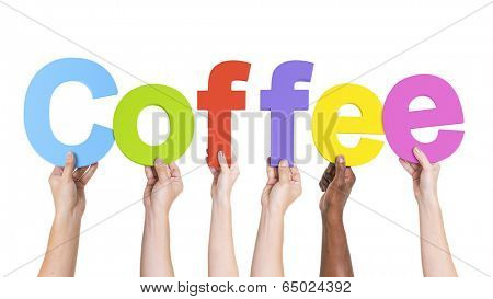 Multi-Ethnic Arms Raised Holding Word Coffee