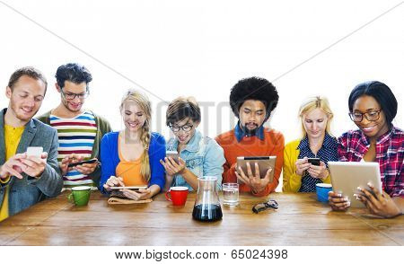 Group of Multiethnic People using tablet Devices