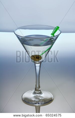 Alcohol Cocktail With Martini And Olive