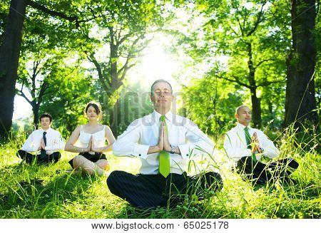 Business people meditating outdoors.