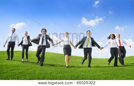 Business People Running down from the hill