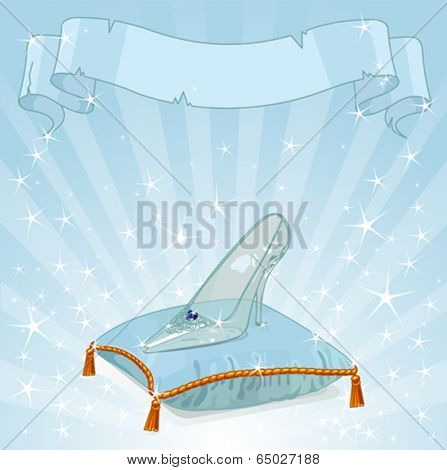 Shiny background with Crystal Cinderella's slipper on blue pillow
