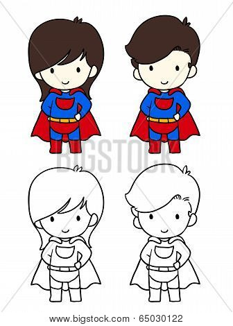 Superhero Boy and Girl