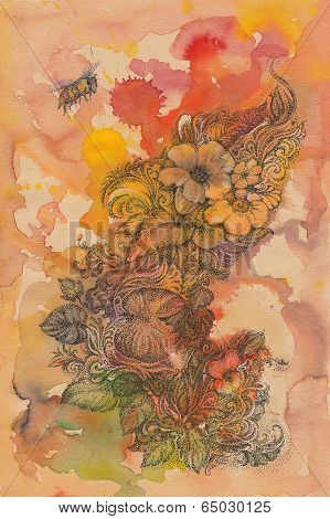 Abstract Background Of Flowers And Handwritten Bees, Watercolor.