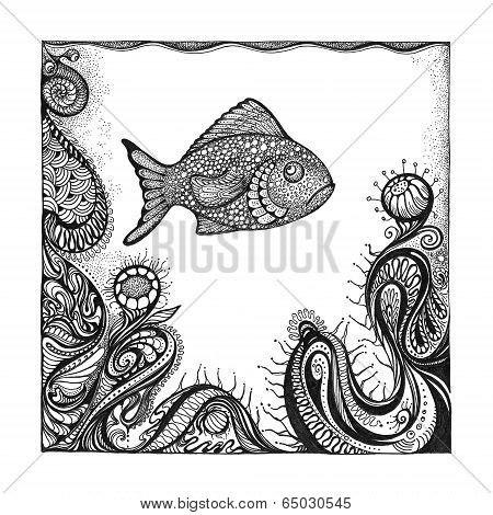 Abstract Background With Handwritten Painted Fish.