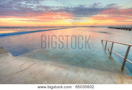 Sunrise From One Of The Pools To The Ocean At North Narrabeen Australia