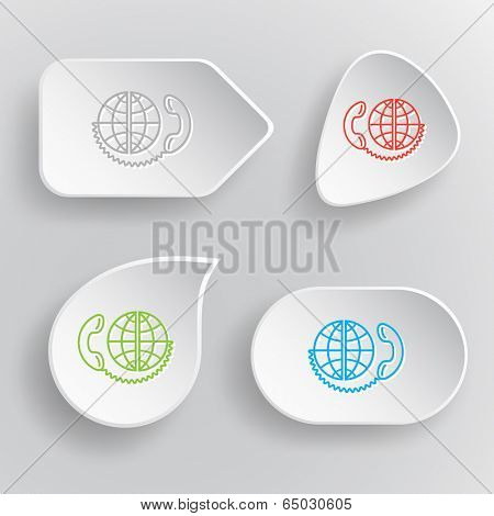Global communication. White flat raster buttons on gray background.