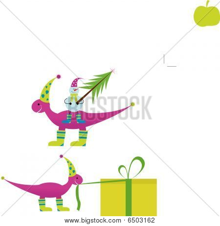 Christmas dinosaur with snowman and gifts for you