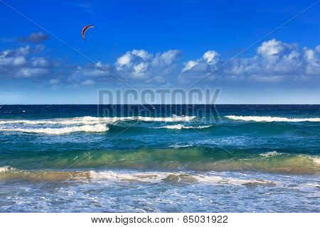 Kite-surfing on a sunny day