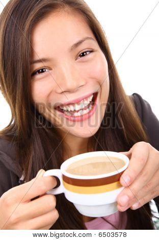 Beautiful Ethnic Woman With Coffee Smiling