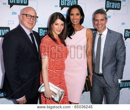 LOS ANGELES - MAY 1:  Tom Coloicchio, Gail Simmons, Padma Lakshmi, Andy Cohen at the A Night With
