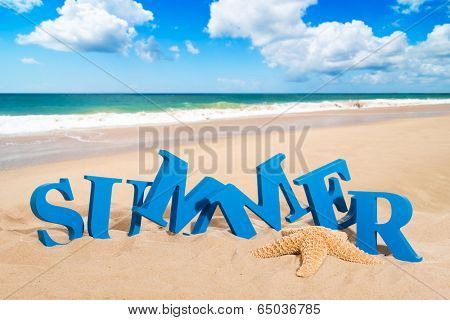 Summer in sand at the beach with starfish