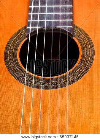 Sound Hole Of Spanish Acoustic Guitar Close Up
