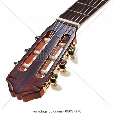 Headstock Of Classical Guitar Close Up