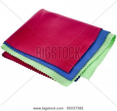 set of colorful cleaning cloth for optics isolated on white background